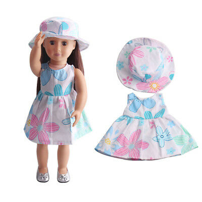 Flower Dress Hat Clothes for 18inch American Girl Our Generation Doll Outfit