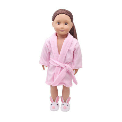 "Pink Bathrobe Sleepwear Clothes Outfit for 18"" American Girl Journey Dolls"