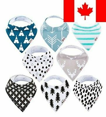 Baby Bandana Drool Bibs Organic 8 Pack for Boys and Girls 100% Absorbent Soft...