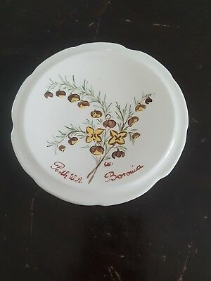WEMBLEY WARE Hand painted NATIVE boronia dish AUSTRALIAN POTTERY INITIALS EW