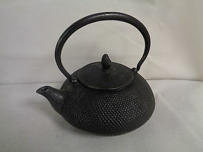 Cast Iron Chinese Black Cast Iron Hobnail Teapot With Infuser         (Su)