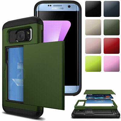 For Samsung Galaxy S5 Card Slot Wallet Shockproof Hybrid Rugged Back Case Cover