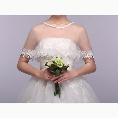 Women's Mesh Lace Bridal Wedding Stole Cover Wrap Shawl Cape Scarf Shrug Jacket