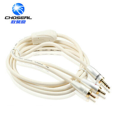 High Quality 5m(16ft) Stereo Audio Cable 3.5mm male to 2RCA male Golden -White