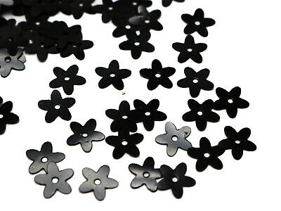 2000 Black 10mm Flowers Loose sequins Paillettes Sewing Wedding Craft