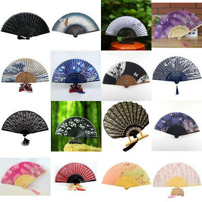 Elegant Floral  Design Wooden Bamboo Asian Japanese Wedding Handheld Folding Fan