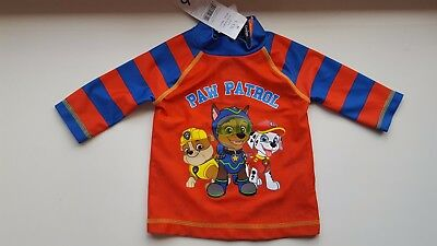 GEORGE baby boy 12-18 months red blue PAW PATROL UV sun safe swimming top shirt