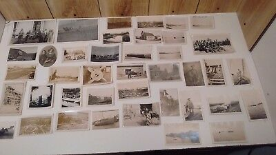 vintage original b&w photos lot of 40 farm, ocean, boats, train, 1930's-50's