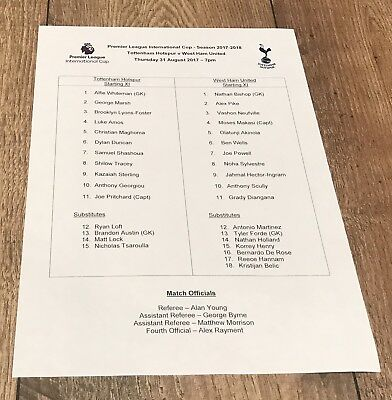 Tottenham Spurs Vs West Ham United 31/08/17 PL2 Youth Official Team Sheet