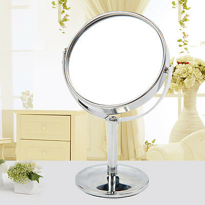 Double Sided Chrome Round Magnifying Cosmetic Shaving Bathroom Swivel Mirror PS