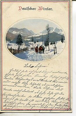 Prosit Neujahr Happy new year  Künstler AK Deutscher Winter 1914