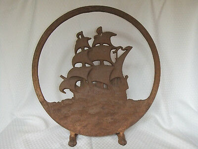 Vintage Cast Iron Ship Fireplace Screen Television Light Great Rusty Patina