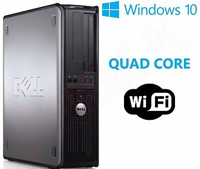 Fast Dell Quad Core Pc Computer Desktop Tower Windows 10 Wi-Fi 16Gb Ram 1Tb Hdd