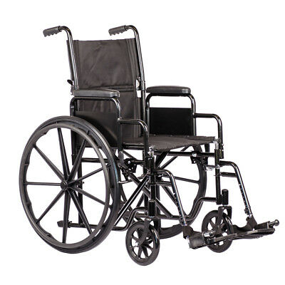 Self Propelled Steel Black Wheelchair with Folding Back and Removable Arms by Vi