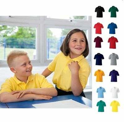 Childrens Kids Boys Girls School Polycotton Uniforms Polo Shirt Plain Polo Shirt