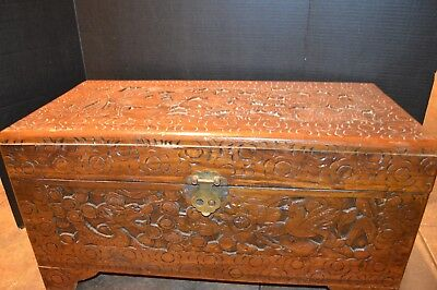 "Antique Vintage Asian Hand Carved Wood, Dragon, Trunk or Chest 28"" 3/4""x15"""