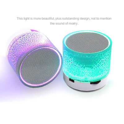 Portable LED Bluetooth Speakers Wireless Bass Speaker With TF USB FM Radio hs1