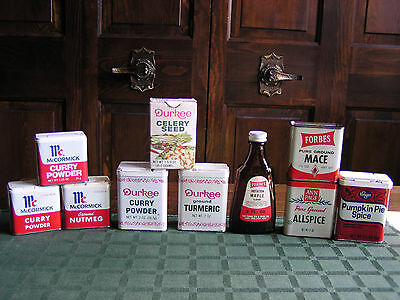 Vintage 12 Spice Tins Boxes Bottles AnnPage Durkees Forbes MarionKay McCormick