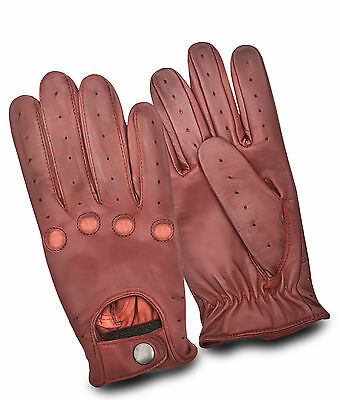 Mens Classic Retro Soft Leather Dressing Driving Gloves Unlined Top Quality