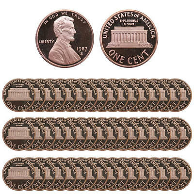 1987 S Lincoln Memorial Cents Gem Deep Cameo Proof Roll Penny 50 US Coins