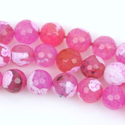 12mm Round STRAWBERRY PINK AGATE Beads, round faceted gemstone strand, gag0207b
