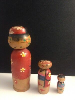 VINTAGE KOKESHI NESTING DOLL RED FLORAL OUTFIT 092617cBZII