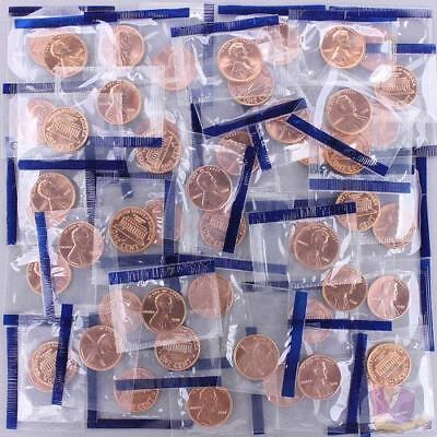 1988 Lincoln Memorial Cent Mint Cello BU Penny Roll 50 US Coin Lot