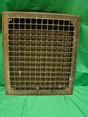 Vintage 1920S  Iron Heating Grate Cover Square Design 16 X 14