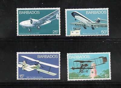Barbados  - Scott # 384 - 387,  MNH   Aviation / Transportation  High Value Set