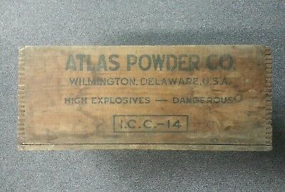 Vintage Atlas Powder Co Explosives Dynamite Wood Box Wooden Crate