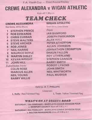 1988-Crewe Alex V Wigan Athletic-Ath-Teamsheet-Fa Youth Cup-3Rd Round Replay