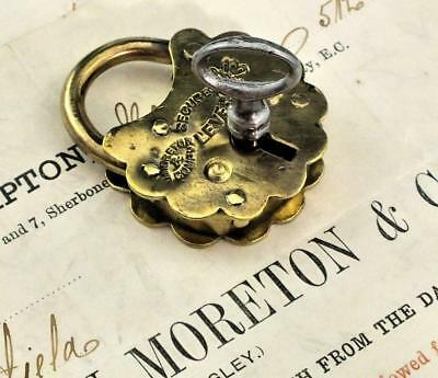 Antique Brass Padlock MORETON & Co with Billhead SCARCE Victorian - ref.P466