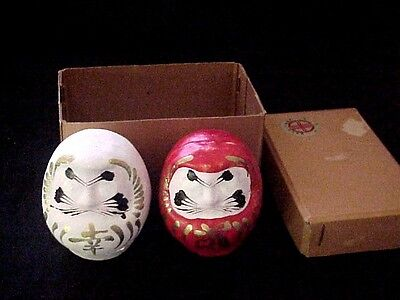 """2 Vintage Japanese Daruma in the box  plaster painted figures excellent  2 1/2"""""""