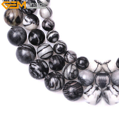 Hot Natural Round Black Web Picasso Jasper Beads for Jewelry Making Strand 15''