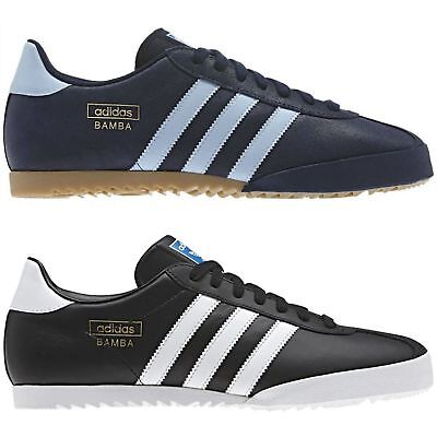 Adidas Originals Bamba Trainers Black Blue Shoes Sneakers