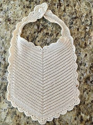 Vintage Baby Child Doll Teddy Bib Ecru Cotton  Hand Crochet
