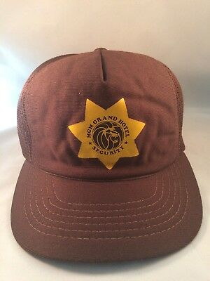 Vintage MGM Grand Hotel Security Cap Summer Mesh Snap Back Las Vegas Casino