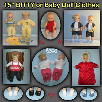 """Assorted Styles 15"""" BITTY or BABY Doll Clothes - Handmade by the Crafty Grandma"""