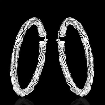 925Sterling Silver Fashion Jewelry Large Round Wrest Woman Earrings Hoop EB590