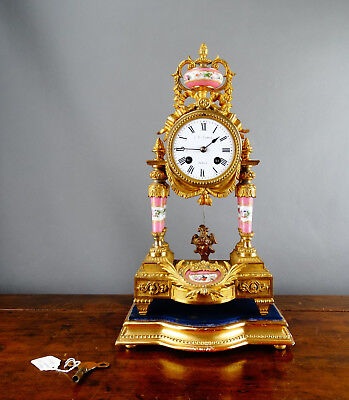 Antique French Gilt Metal Porcelain Portico Mantel Clock by Japy Freres Chiming