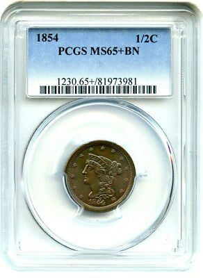 1854 1/2c PCGS MS65+ BN - Nice Type Coin - Half Cent - Nice Type Coin