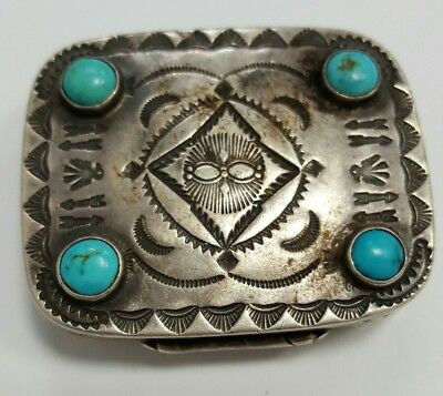 Vintage Mexican Sterling Silver Pill Box With Turquoise Stones