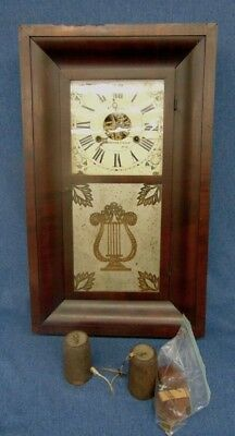 1840s Chauncey Jerome OGEE Wall Clock Painted Face, Orig Label, Brass Parts Rst