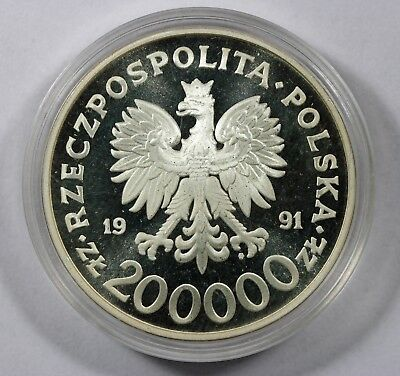 1991 POLAND 200000 zlotych POLISH CONSTITUTION Silver Proof Coin (HD37)