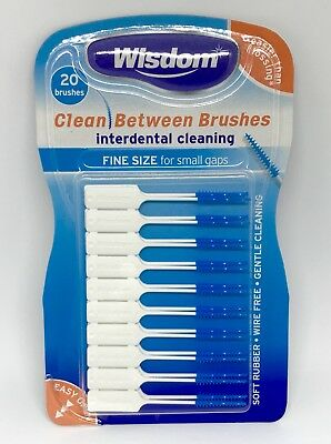 Wisdom BLUE Fine Clean Between Rubber 20 Interdental Plaque Brushes X 1 Pack