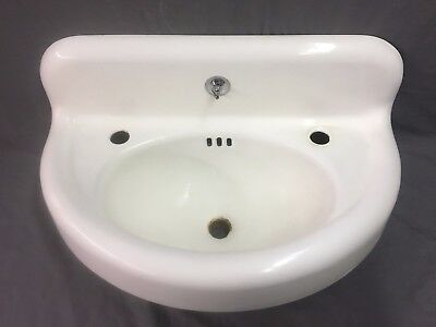 Antique White Iron Porcelain Half Round Powder Bath room Sink Old Vtg  271-17J