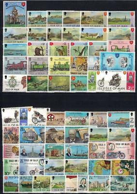 ISLE OF MAN 1973/75 62v + 1 sheetlet MNH / B15329