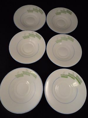 Royal Doulton Lido Pattern 6 x saucers c1930's Green Blue Art Deco