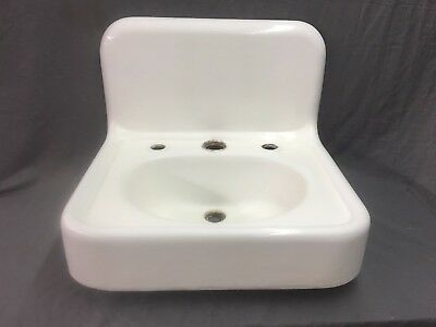 "Antique Hign Back 24"" Cast Iron White Porcelain Wall Mount Bath Sink Vtg 272-17J"