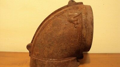 """Old Cast Iron wood stove Decorative Stove Pipe 90 Degree Elbow  6"""" round  rusty"""
